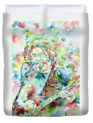 Jerry Garcia Playing The Guitar Watercolor Portrait.2 Duvet Cover