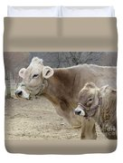 Jersey Cow And Calf Duvet Cover