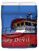 Jersey Devil Clam Boat Duvet Cover