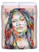Jessye Norman - Watercolor Portrait Duvet Cover