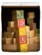 Jesus - Alphabet Blocks Duvet Cover