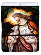Jesus And Lambs Duvet Cover