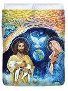 Jesus And Mary Cloud Colored Christ Come Duvet Cover