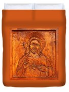 Jesus From A Door Panel At Santuario De Chimayo Duvet Cover