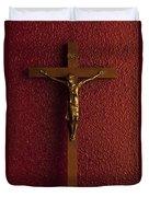 Jesus On Cross Against Red Wall Duvet Cover