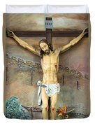 Jesus Statue At Latin Church In Taybeh Duvet Cover