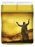 Jesus With Arms Stretched Towards Heaven Duvet Cover