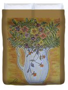 Jewel Tea Pitcher With Marigolds Duvet Cover