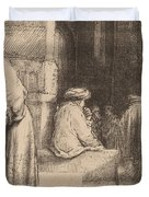 Jews In The Synagogue Duvet Cover