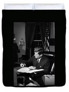 Jfk Signing The Cuba Quarantine Duvet Cover by War Is Hell Store