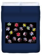 Jigsaw Puzzle Flag Pieces Duvet Cover