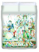Jim Morrison And The Doors Live On Stage- Watercolor Portrait Duvet Cover