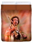 Jimi Hendrix Electrifying Guitar Play Duvet Cover