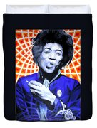 Jimi Hendrix Orange And Blue Duvet Cover
