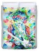 Jimi Hendrix Playing The Guitar.2 -watercolor Portrait Duvet Cover