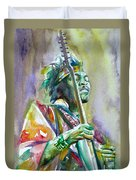 Jimi Hendrix Playing The Guitar.5 -watercolor Portrait Duvet Cover