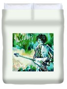 Jimi Hendrix With Guitar Duvet Cover