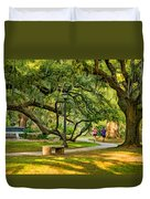 Jogging In City Park Duvet Cover