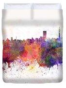 Johannesburg Skyline In Watercolor Background Duvet Cover