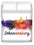 Johannesburg Skyline In Watercolor Duvet Cover