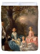 John And Ann Gravenor With Their Daughters Duvet Cover