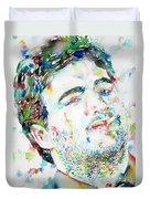 John Belushi Smoking - Watercolor Portrait Duvet Cover