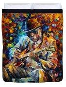 John Lee Hooker - Palette Knife Oil Painting On Canvas By Leonid Afremov Duvet Cover