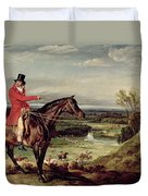 John Levett Hunting In The Park At Wychnor Duvet Cover