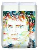 Johnny Rotten - Watercolor Portrait Duvet Cover
