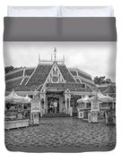 Jolly Holiday Cafe Main Street Disneyland Bw Duvet Cover