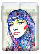 Juliette Greco - Colored Pens Portrait Duvet Cover