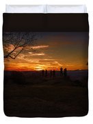 Jump Off Rock Sunset Silhouettes Duvet Cover