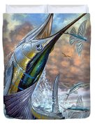 Jumping Sailfish And Flying Fishes Duvet Cover by Terry Fox