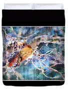 Junco On Icy Branch - Digital Paint II Duvet Cover