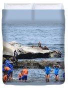 Junior Lifeguards And Sea Lions Duvet Cover