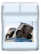 Junk Cars In Dumpster Cash For Clunkers Duvet Cover