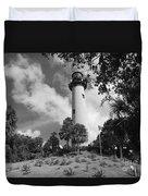 Jupiter Inler Lighthouse In Black And White Duvet Cover