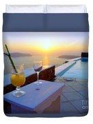 Just Before Sunset In Santorini Duvet Cover