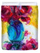 Just Past Bloom - Roses Still Life Duvet Cover by Talya Johnson