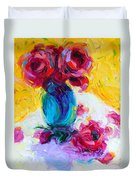 Just Past Bloom - Roses Still Life Duvet Cover