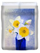 Just Plain Daffy 2 In Blue - Flora - Spring - Daffodil - Narcissus - Jonquil  Duvet Cover