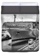 Kaethe P Container Ship Panama Canal Monochrome Duvet Cover
