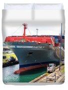 Kaethe P Container Ship Panama Canal Duvet Cover