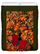 Kalanchoe Plant With Butterfly Duvet Cover