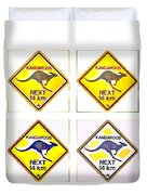 Kangaroos Road Sign Pop Art Duvet Cover