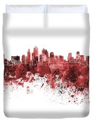 Kansas City Skyline In Red Watercolor On White Background Duvet Cover