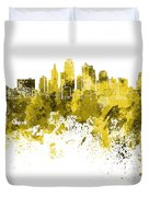 Kansas City Skyline In Yellow Watercolor On White Background Duvet Cover