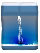 Kansas Country Windmill Inverted Negative Sunset Duvet Cover