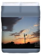 Kansas Golden Sky With A Windmill Duvet Cover