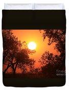 Kansas Golden Sunset With Trees Duvet Cover by Robert D  Brozek